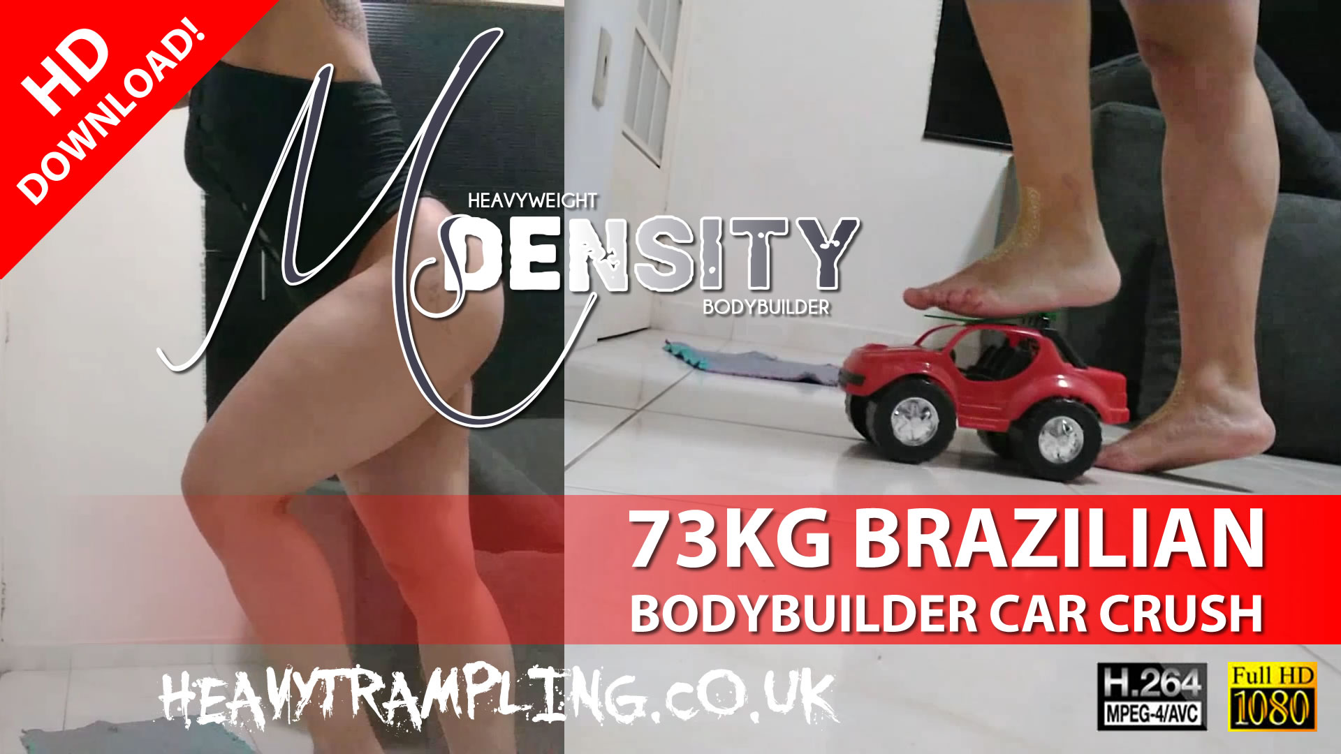 73KG Brazilian Bodybuilder Ms Density Crushes Toy Car Under Her Weight