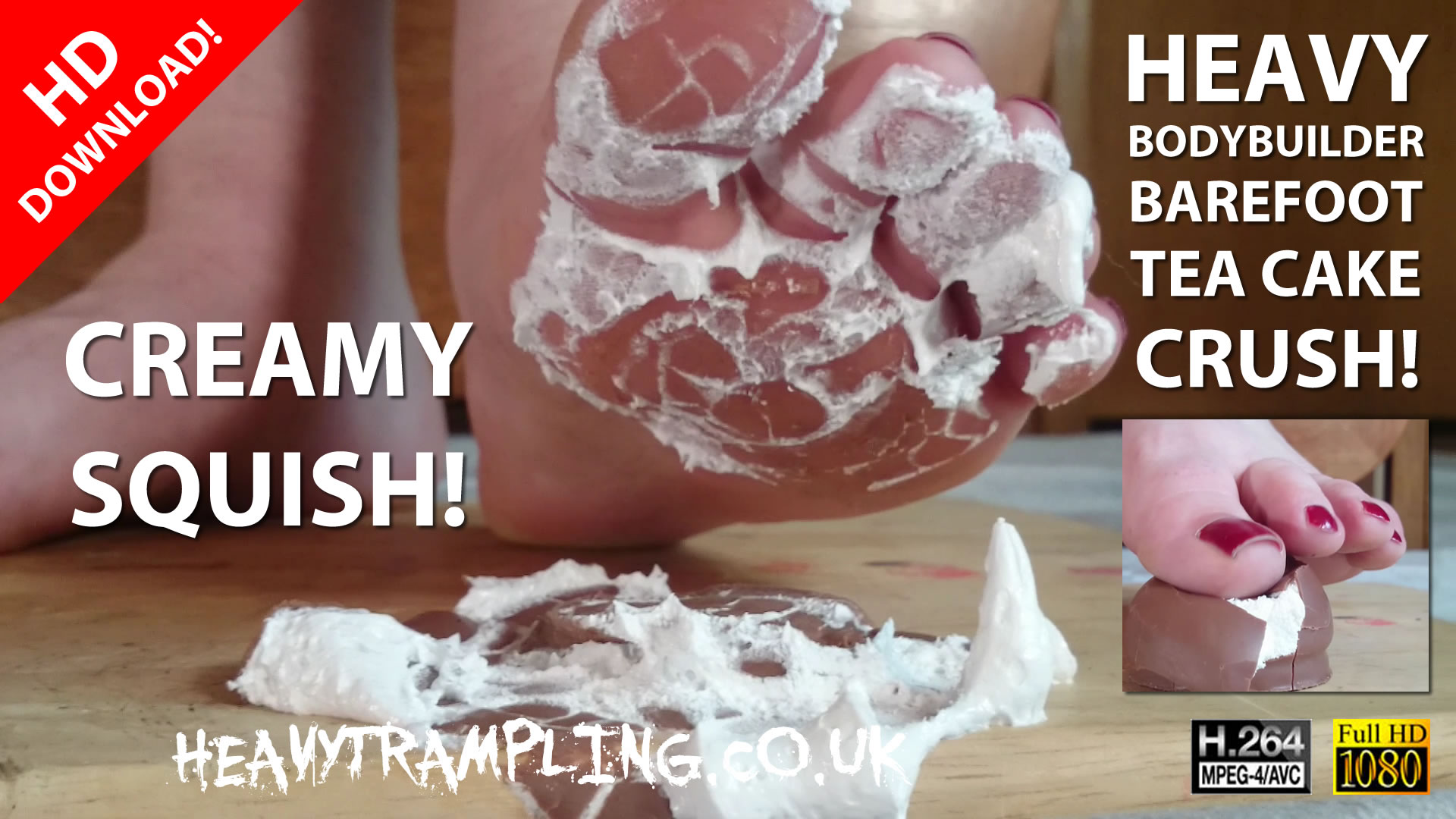 Crushing: 5 Min Heavy Female Bodybuilder Barefoot Tea Cake Crush