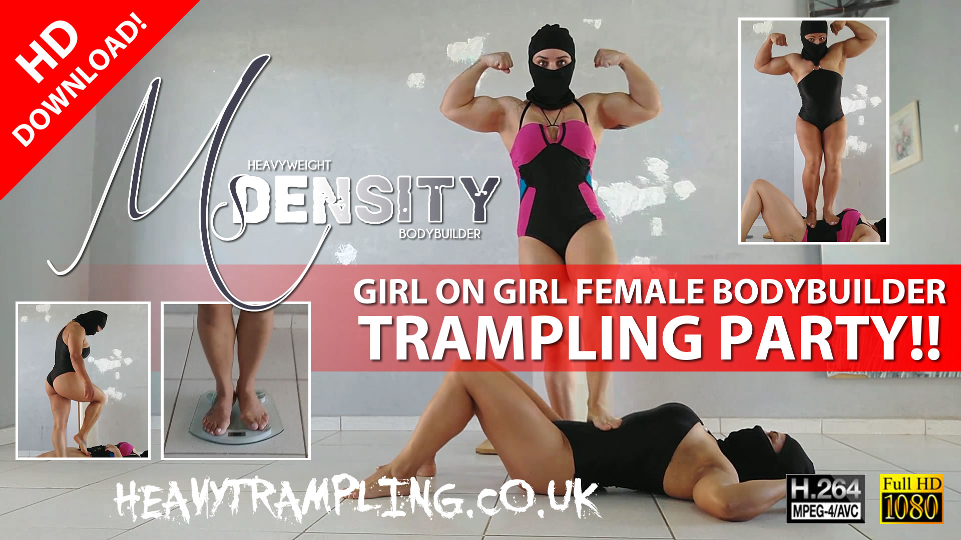 Ms Density Girl on Girl Female Bodybuilder Trampling Party