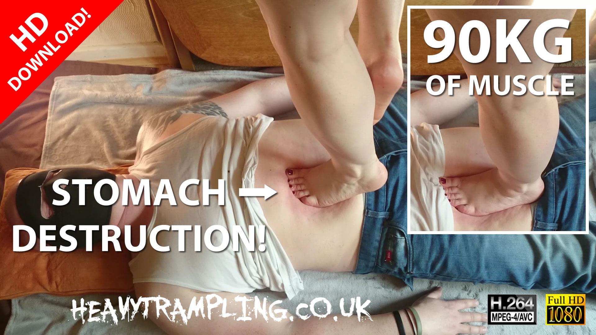 Trampling: 6 Min 90kg Barefoot Bodybuilder Stomach Trample